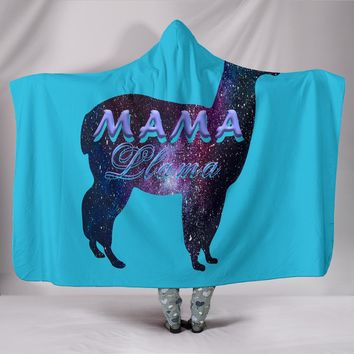 Mama Llama Lover Hooed Blanket Funny Mother Day Gifts
