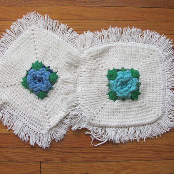 Vintage Pair of Crocheted Afghan Pillows Covers with Flowers