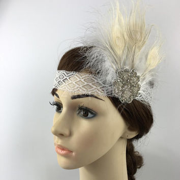 Fashion New Elegant Feather Headband 1920s Great Gatsby Headpiece Fancy Dress Costume Party Hair Band