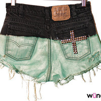 Bleached Studded Shorts