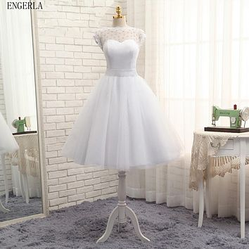 ENGERLA Bateau Neck Organza Tulle Ball Gown Wedding Dress Short 2017 Romantic White Knee Length Wedding Gowns
