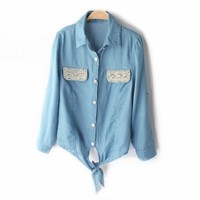 Pearls & Rhinestones Lace-up Short Slim Denim Shirt