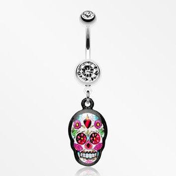 Brightly Colored Sugar Skull Print Belly Ring