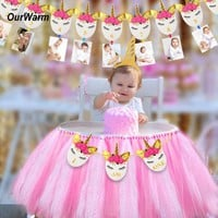 OurWarm Birthday Party Banner Set Unicorn Party Supplies Baby Shower Party Flags for Kids Boys Girls Birthday Party Decorations