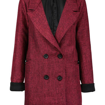 Red Wine Double Breasted Wool Coat