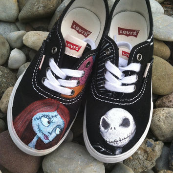 Boys custom hand painted acrylic paint shoes the nightmare before christmas