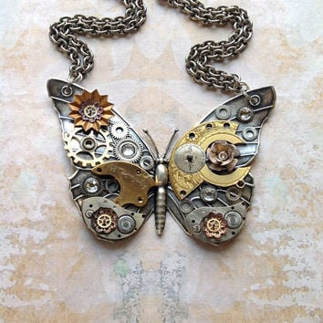 Steampunk Butterfly Necklace Custom Design by bionicunicorn
