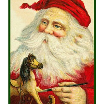 Victorian Father Christmas Santa Painting A Toy Rocking Horse Counted Cross Stitch or Counted Needlepoint Pattern