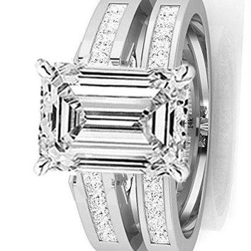 .2.7 Ctw 14K White Gold GIA Certified Emerald Cut Channel Set Princess Cut Bridal Set Diamond Engagement Ring Wedding Band, 2 Ct G-H VS1-VS2 Center