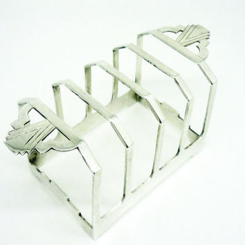 Solid Silver Toast Rack, True Art Deco, Sterling, 5 Bar, Letter, English, Hallmarked Birmingham 1934, REF:238K