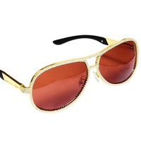 Brown Tint Glass Gold Frame Iced Out Custom Eye Glass
