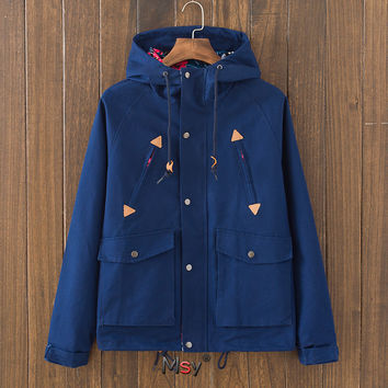 Casual Men's Slim Fit Quilted Lightweight Navy Blue Jackets with Hood