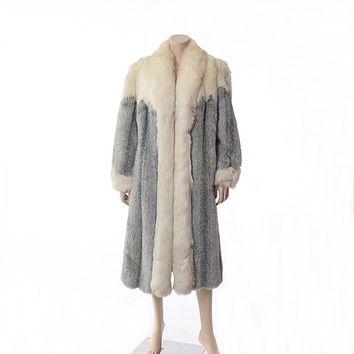 Vintage 80s Silver Arctic Fox Faux Fur Coat 1980s Vegan Ombre Shaded Gray Long Coat Hippie Boho Full Length Maxi Jacket Outerwear / M-L