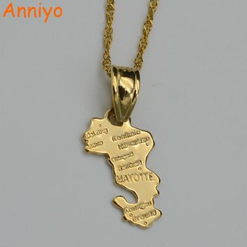 Anniyo Map of Territorial Collectivity of Mayotte necklace pendants 45cm/60cm chain for women gold color jewelry africa