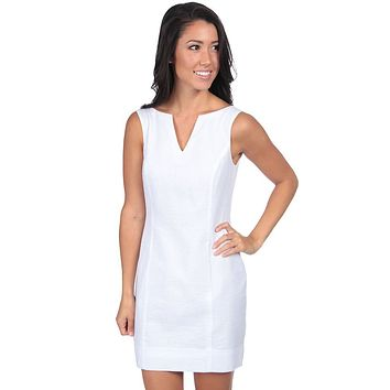 The Avery Seersucker Dress in White by Lauren James