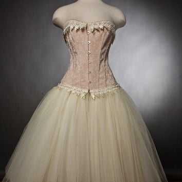 Custom Size Peach and ivory lace burlesque corset prom dress