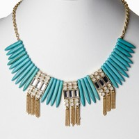 Turquoise-Beaded-Fringe-Necklace/Earring-Set