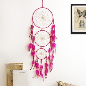 Pink Feather Craft Dream Catcher Dreamlike Handmade Dreamcatcher Net Wind Chimes for Home Room Decor Mascot Gifts