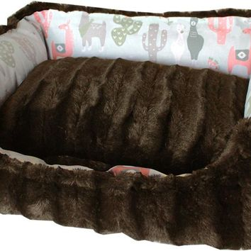Reversible Bumper Dog Bed Llama Medium