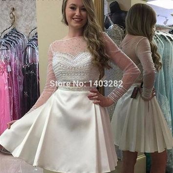 Sparkly Beaded Sequined Short White Homecoming Dresses Long Sleeve Sheer Dress For Homecoming 8th Grade Prom Party Dresses 2016