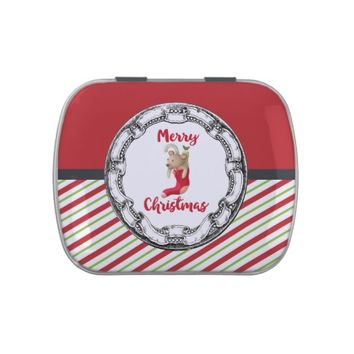 Merry Christmas Teddy Bear In Vintage Circle Jelly Belly Tin