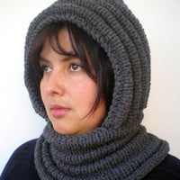 Stone Grey Wave Chunky Knit Hood  Soft Mixed Wool Woman Hooded Scarf Cowl Fall Winter Accesories NEW