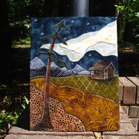 Mountain House under Stars  Original Fabric on by shellieartist