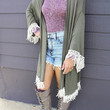 Endless Love Olive Kimono With Crochet Fringe Hem & Sleeves