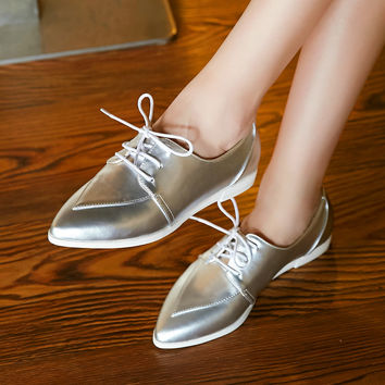 Pointed Toe Flats Lace Up Women Shoes 8108
