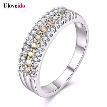 Uloveido 5% off Rings for Women Silver Jewelry Crystal Romantic Engagement Ring with Stones Bijoux Anel Masculino Anillos Y014