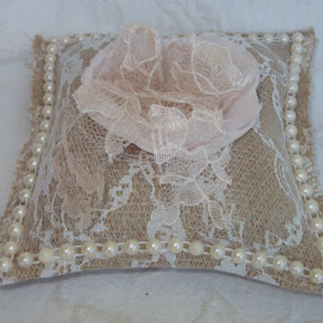 Burlap and Lace Wedding Ring Pillow with Blush and ChampagneOrganza Fabric Flower Lace Tie