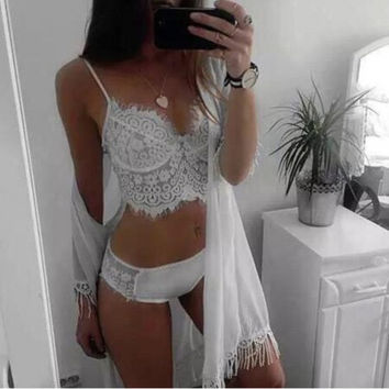 Women Fashion Sexy V Neck Wire Free Padded Hollow Floral Lace Strappy Bralette Bra And Panties Underwear Set