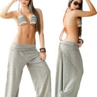 Desert Tan Beach, Pool or Resort Wear Lace Pants:Amazon:Clothing