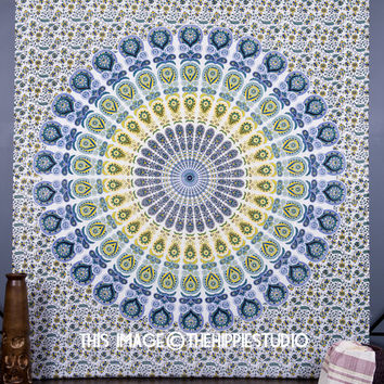 Mandala Bohemian Tapestry Wall Hanging, Hippie Tapestries Indian Bedspread Ethnic Wall Décor, Psychedelic Wall Art, Dorm Décor Beach Throw