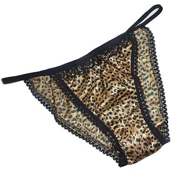 Shiny SATIN string bikini MINI TANGA panties BROWN LEOPARD with black lace 6 sizes Made in France