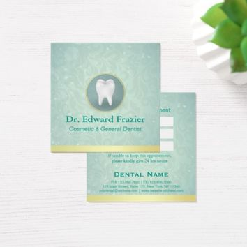 Cosmetic & General Dentist Appointment Gold Teal Square Business Card