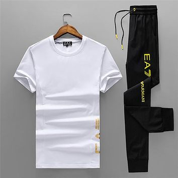 Boys & Men Armani Fashion Casual Shirt Top Tee Pants Trousers Set Two Piece