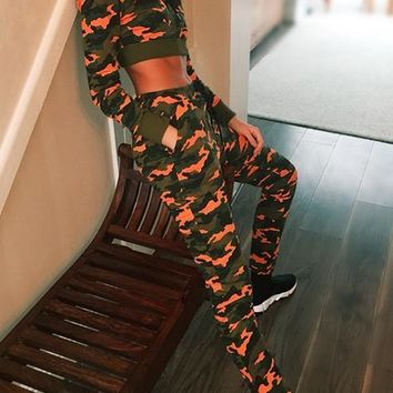 Orange Camo Print Drawstring Pockets Two Piece Hooded Workout Casual Long Jumpsuit