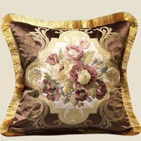 "Brown Float Flower Pillow Embellished With Trim  20""X20"""
