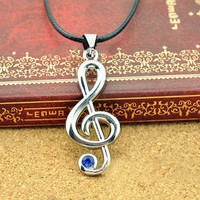 Fashion Music notation Blue Rhinestone Leather Rope Pendant Necklace Jewelry = 1932188804