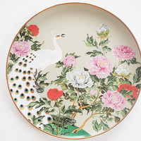 Franklin Mint Flowers and Birds of the Orient Peony and Peacock Hand Painted Decorator Plate, 1979
