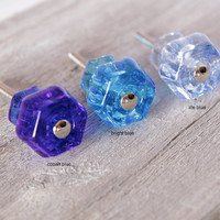 Bright Blue Glass Knobs, Cabinet or Drawer Knobs, Dresser Knobs, Antique Style Knobs