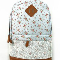 Sweet Floral Print Lace Spliced Backpack-sky blue from styleonline