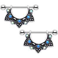Blue and White Synthetic Opal Ancient Aztec Dangle Nipple Shield Set