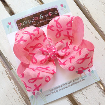 Breast Cancer Ribbon Hairbow -- 4 inch Breast Cancer Awareness bow for girls -- optional headband