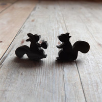 Squirrel Earrings Acrylic Squirrel with Nut Earrings Novelty Earrings Studs Gift Under 20