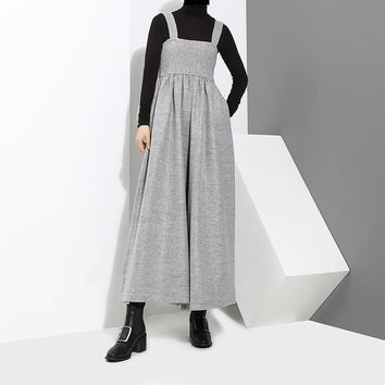 Jucee Wide Leg Overalls - Gray