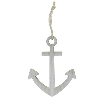 """9.75"""" White Cape Cod Inspired Wall Hanging Nautical Anchor"""