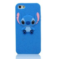LliVEER New Iphone 5 Disney 3d Stitch&Lilo Case Cover Protector Skin Compatible for Iphone 5G/5/5th (Dark Blue)