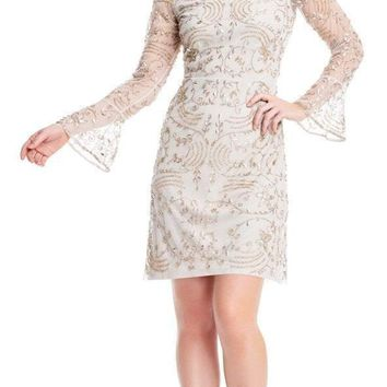 Adrianna Papell - AP1E203138 Vine-Beaded Bell Sleeve Sheath Dress